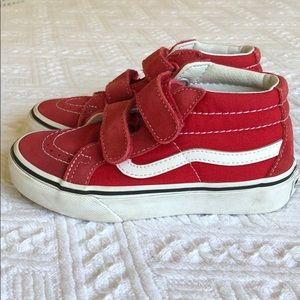 Vans Sk8-hi velcro high tops red white size 12